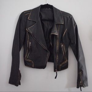 Faux leather moto jacket, size xs-s
